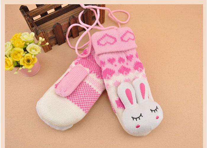 冬季韩版可爱兔子兔头手套